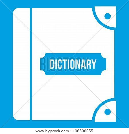 English dictionary icon white isolated on blue background vector illustration