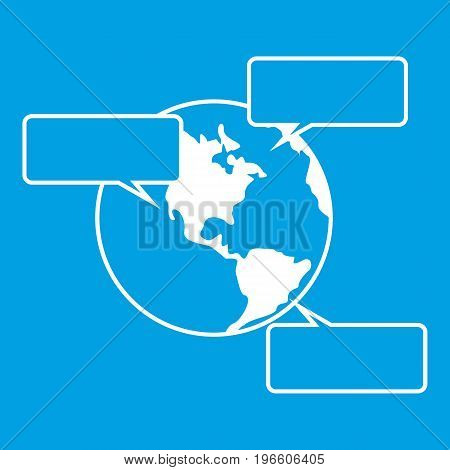 Globe and empty speech bubbles icon white isolated on blue background vector illustration