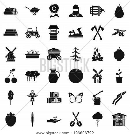 Farming equipment icons set. Simple style of 36 farming equipment vector icons for web isolated on white background