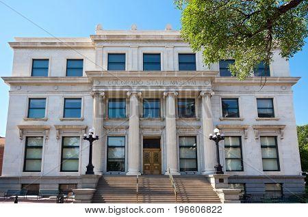 former colorado state museum now legislative services building and entrance in denver colorado