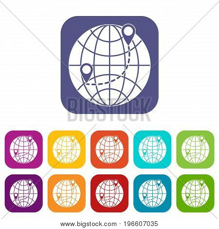 Globe icons set vector illustration in flat style in colors red, blue, green, and other