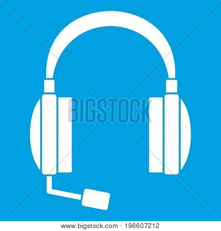 Headphones icon white isolated on blue background vector illustration