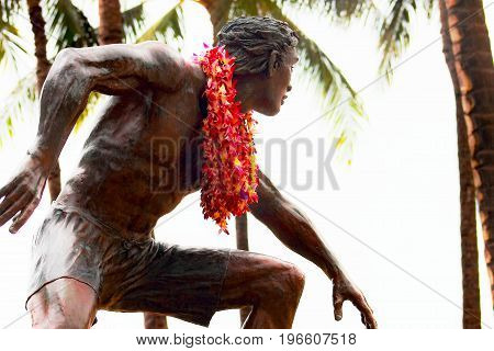 Honolulu Hawaii USA - May 28 2016: A Bronze statue of Duke Kahanamoku located in the Waikiki Beach Area.