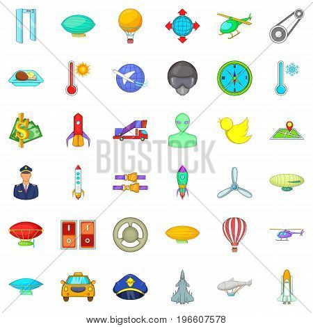 Flying transport icons set. Cartoon style of 36 flying transport vector icons for web isolated on white background