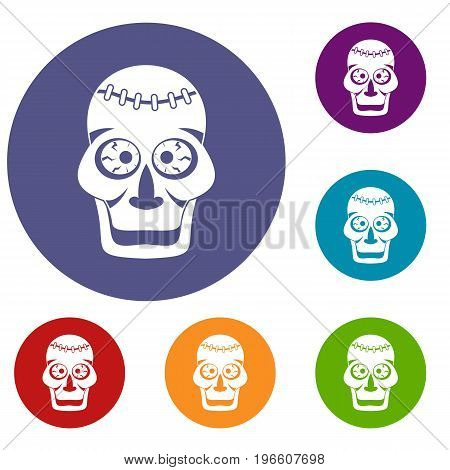 Skull icons set in flat circle red, blue and green color for web