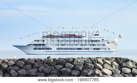 Honolulu, Hawaii, USA - May 30, 2016: Close up image of the Star of Honolulu cruise ship which provides dinner and entertainment to passangers and is a star attraction for local tourists and travellers.