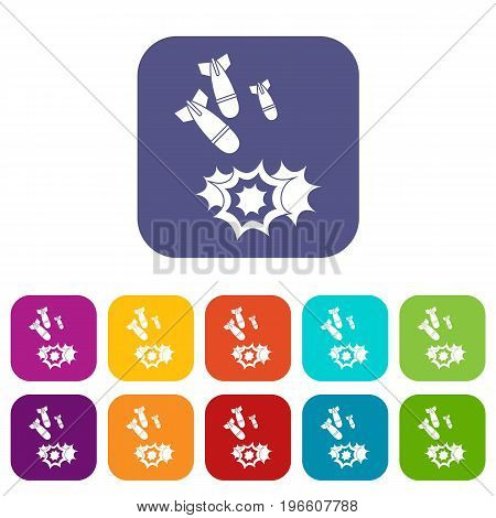 Bomb icons set vector illustration in flat style in colors red, blue, green, and other