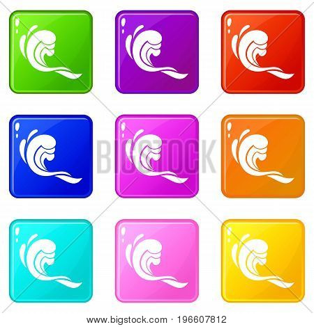 Water wave icons of 9 color set isolated vector illustration