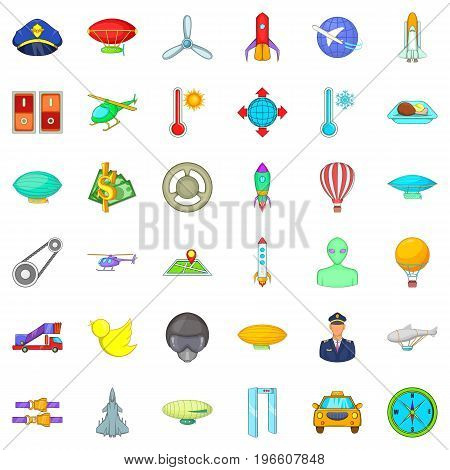 Air transport icons set. Cartoon style of 36 air transport vector icons for web isolated on white background