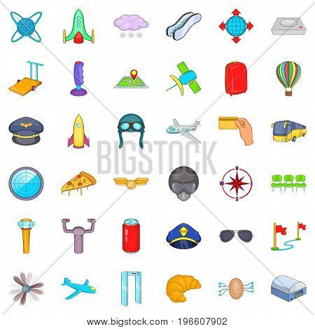 Airport icons set. Cartoon style of 36 airport vector icons for web isolated on white background