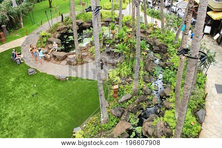 Honolulu, Hawaii, USA - May 30, 2017: Royal Grove Garden at the Royal Hawaiian Center