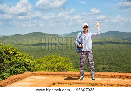 Female traveler in buddhist monastery, Sigiriya