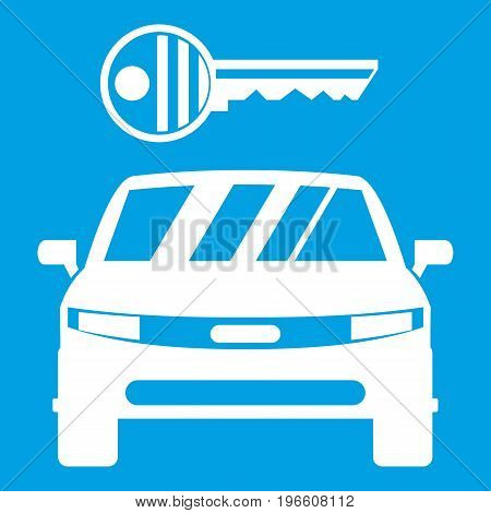 Car and key icon white isolated on blue background vector illustration
