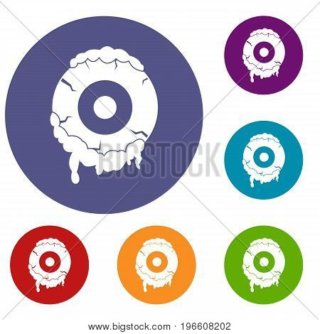 Scary eyeball icons set in flat circle red, blue and green color for web