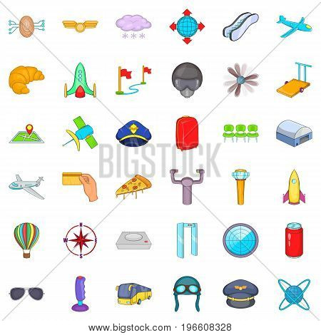 Great airport icons set. Cartoon style of 36 great airport vector icons for web isolated on white background