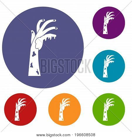 Zombie hand icons set in flat circle red, blue and green color for web