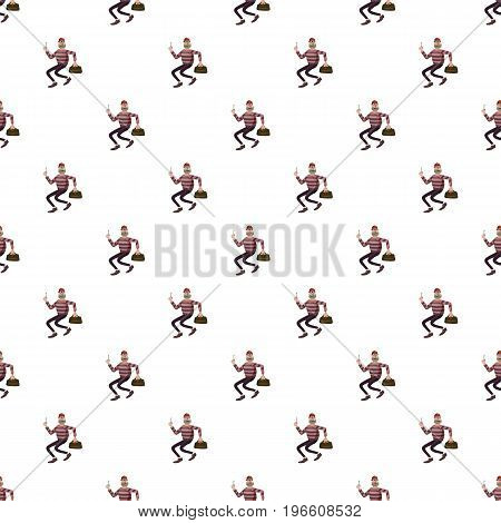 Robber pattern seamless repeat in cartoon style vector illustration
