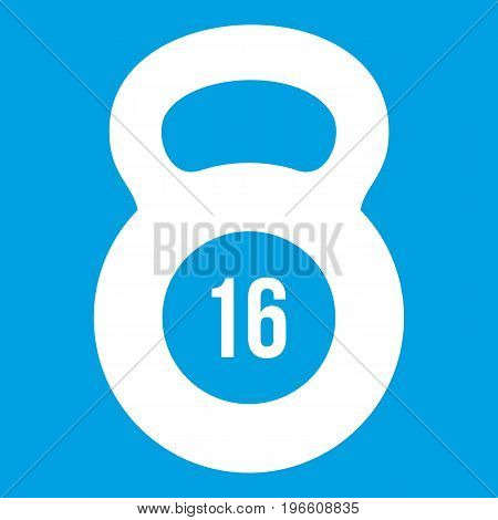 Kettlebell icon white isolated on blue background vector illustration