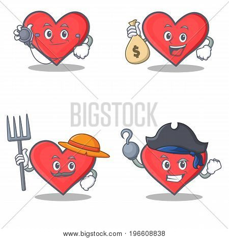 Set of heart character with doctor money bag farmer pirate vector illustration