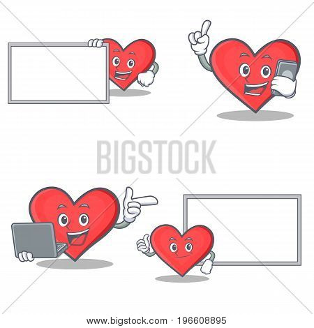 Set of heart character with board phone laptop pose vector illustration