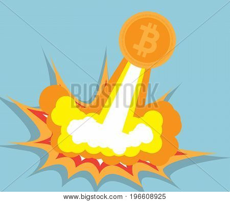 bitcoin go flying cryptocurrency concept vector illustration