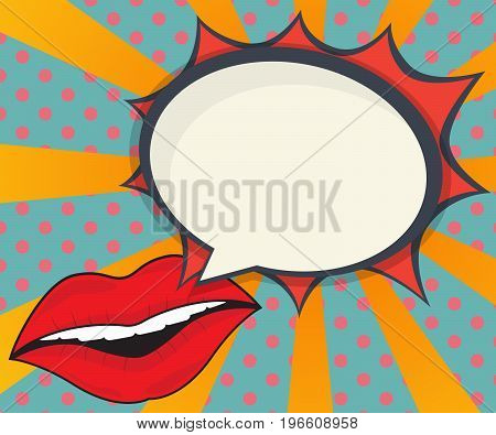 abstract woman lips with speech bubble comic book pop art background vector illustration