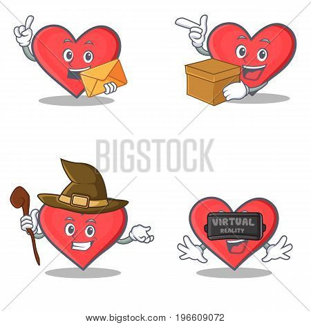 Set of heart character with envelope box witch virtual vector illustration