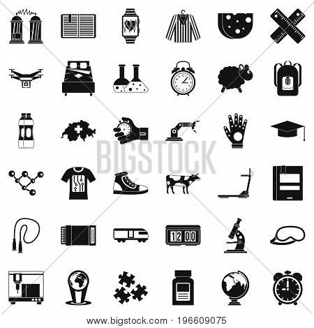 Scientific things icons set. Simple style of 36 scientific things vector icons for web isolated on white background
