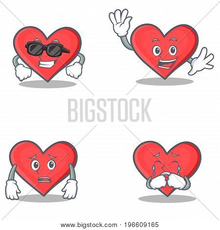 Set of heart character with cool waving afraid crying vector illustration