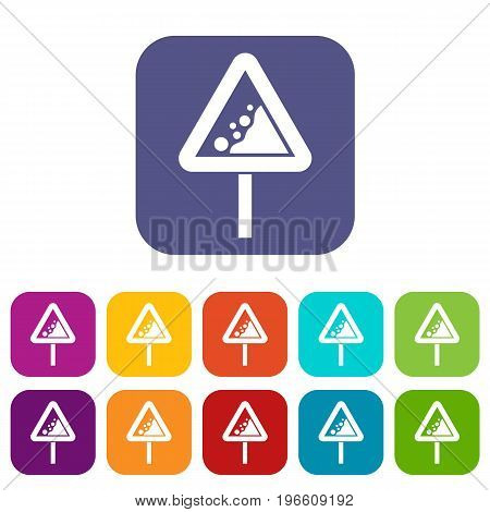 Falling rocks warning traffic sign icons set vector illustration in flat style in colors red, blue, green, and other
