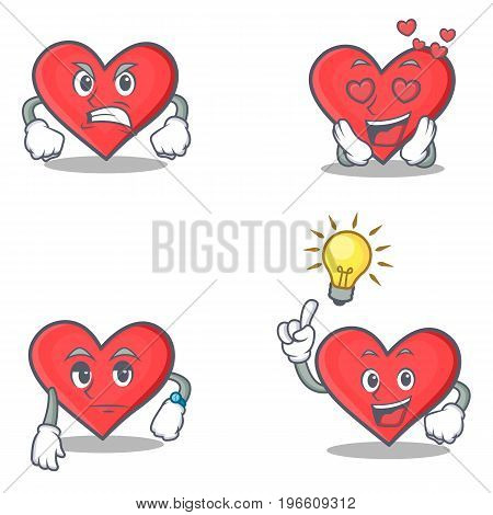 Set of heart character with angry love waiting idea vector illustration