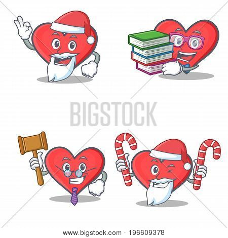 Set of heart character with Santa book judge candy vector illustration