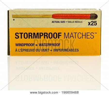 Winneconne WI - 22 July 2017: A package of Stromproof matches on an isolated background.