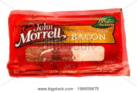 Winneconne WI - 23 July 2017: A package of John Morrell bacon on an isolated background.