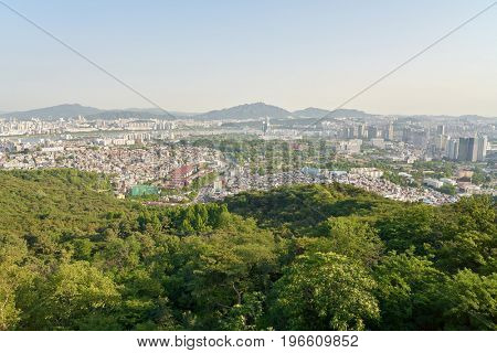 SEOUL, SOUTH KOREA - CIRCA JUNE, 2017: Seoul cityscape at daytime. Seoul Special City is the capital and largest metropolis of the Republic of Korea.