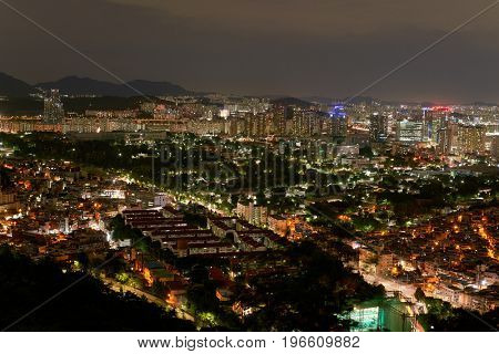 SEOUL, SOUTH KOREA - CIRCA JUNE, 2017: Seoul city view from Namsan Mountain at nighttime. Seoul Special City is the capital and largest metropolis of the Republic of Korea.