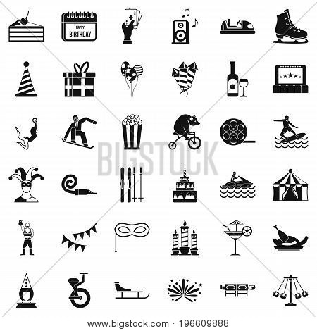 Amusement park icons set. Simple style of 36 amusement park vector icons for web isolated on white background