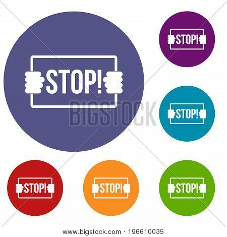 Stop icons set in flat circle red, blue and green color for web