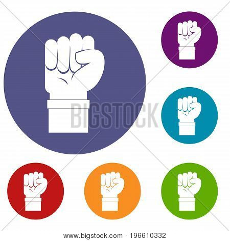 Fist icons set in flat circle red, blue and green color for web
