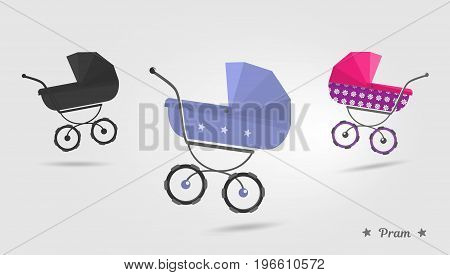 Baby stroller set Isolated on white background. Cartoon pram vector illustration. Trendy style for graphic design,