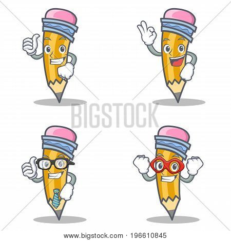 Set of pencil character with proud okay businessman hero vector illustration