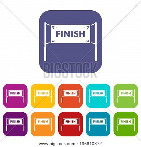 Finish line gates icons set vector illustration in flat style in colors red, blue, green, and other