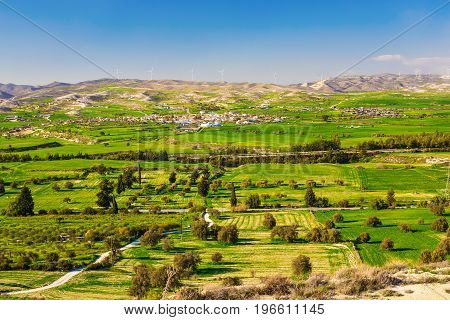 Summer landscape with green grass, road and mountains.