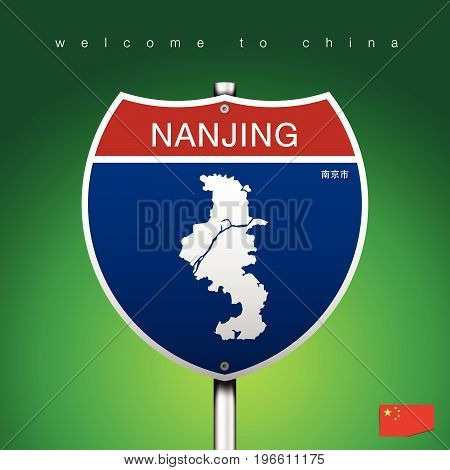 An Sign Road America Style with state of China with green background and message NANJING and map vector art image illustration