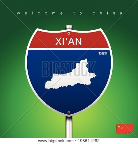 An Sign Road America Style with state of China with green background and message XI'AN and map vector art image illustration