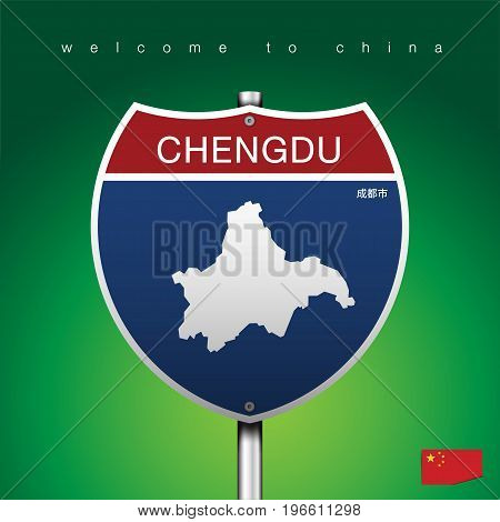 An Sign Road America Style with state of China with green background and message, CHENGDU and map, vector art image illustration