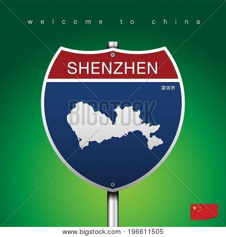 An Sign Road America Style with state of China with green background and message, SHENZHEN and map, vector art image illustration