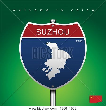 An Sign Road America Style with state of China with green background and message, SUZHOU and map, vector art image illustration