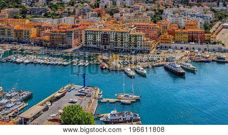 Nice City Coastline On The Mediterranean Sea