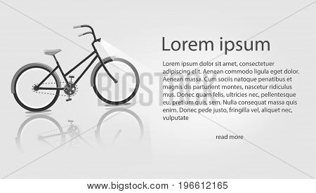 Vector illustration Bike. Banners on the theme mountain biking, store, routes for cycling. Area for text on a grey background.